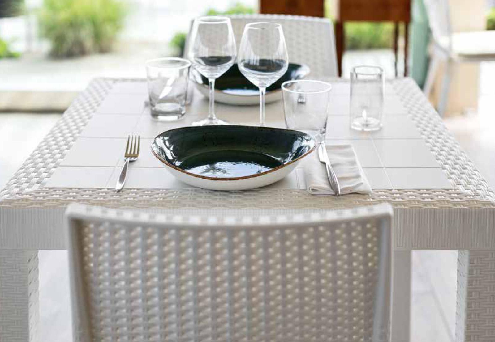 Tavolo da esterno quadrato 80x80 cm bianco da giardino in ...