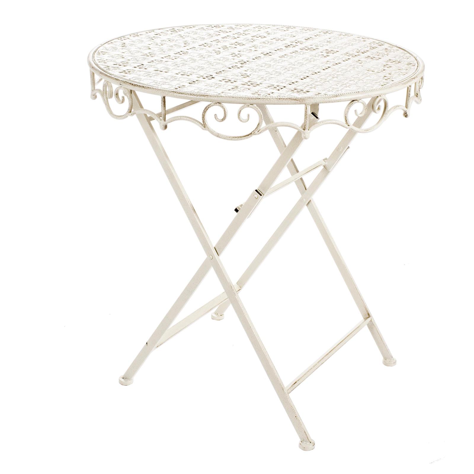 Tavolo in ferro da esterno Ø70 cm rotondo bianco struttura ...