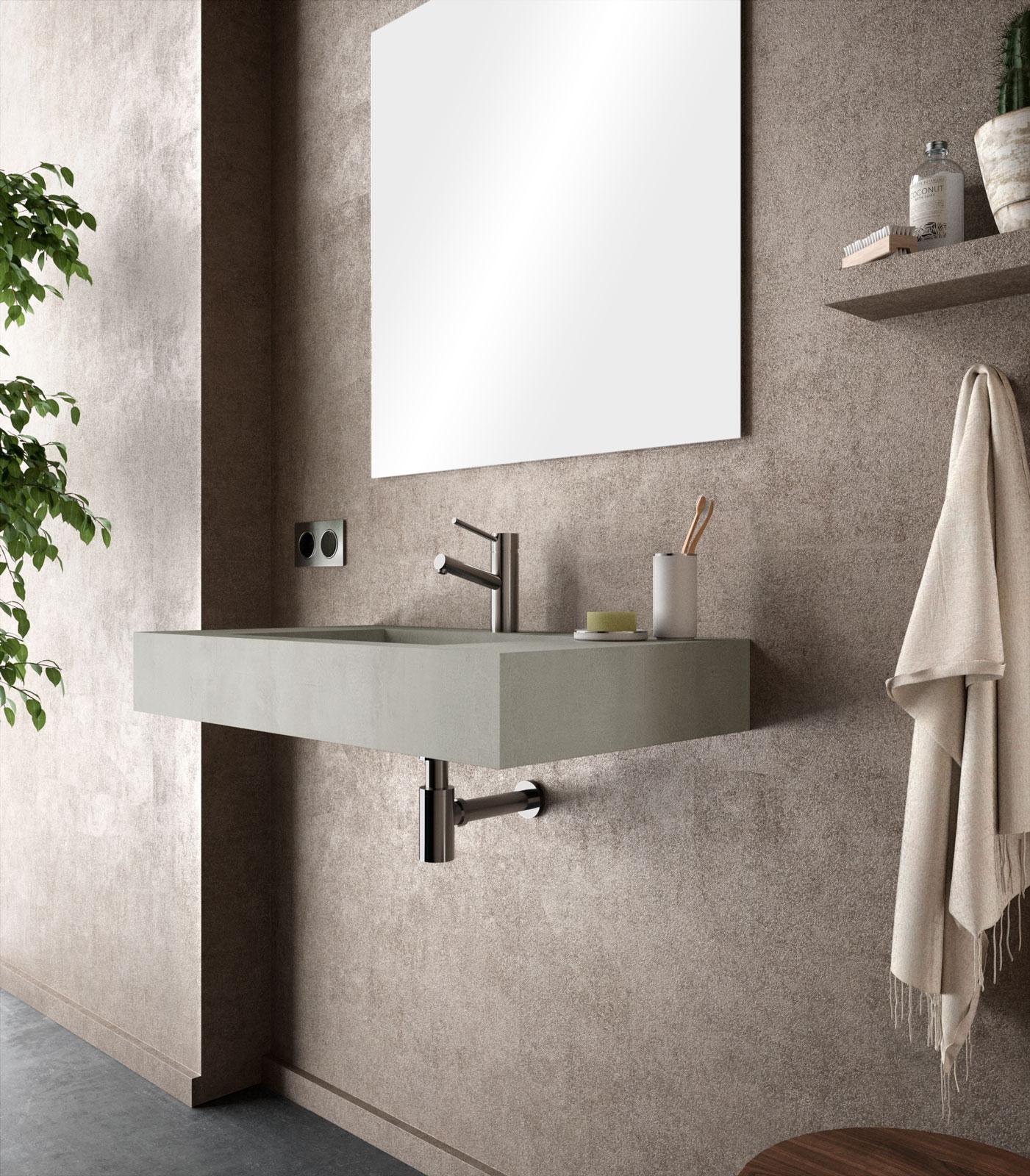 Lavabo sospeso rettangolare 80x46 cm grigio cemento alfa ...