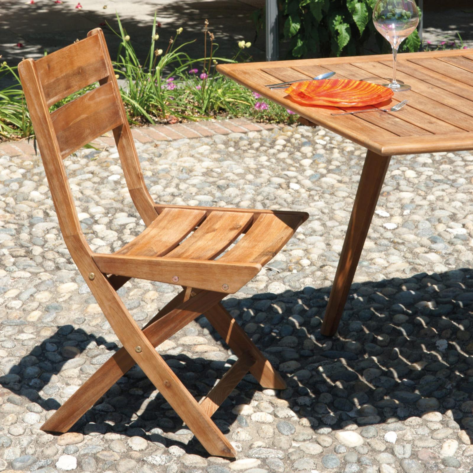 Set da pranzo per esterno in legno di acacia con tavolo ...