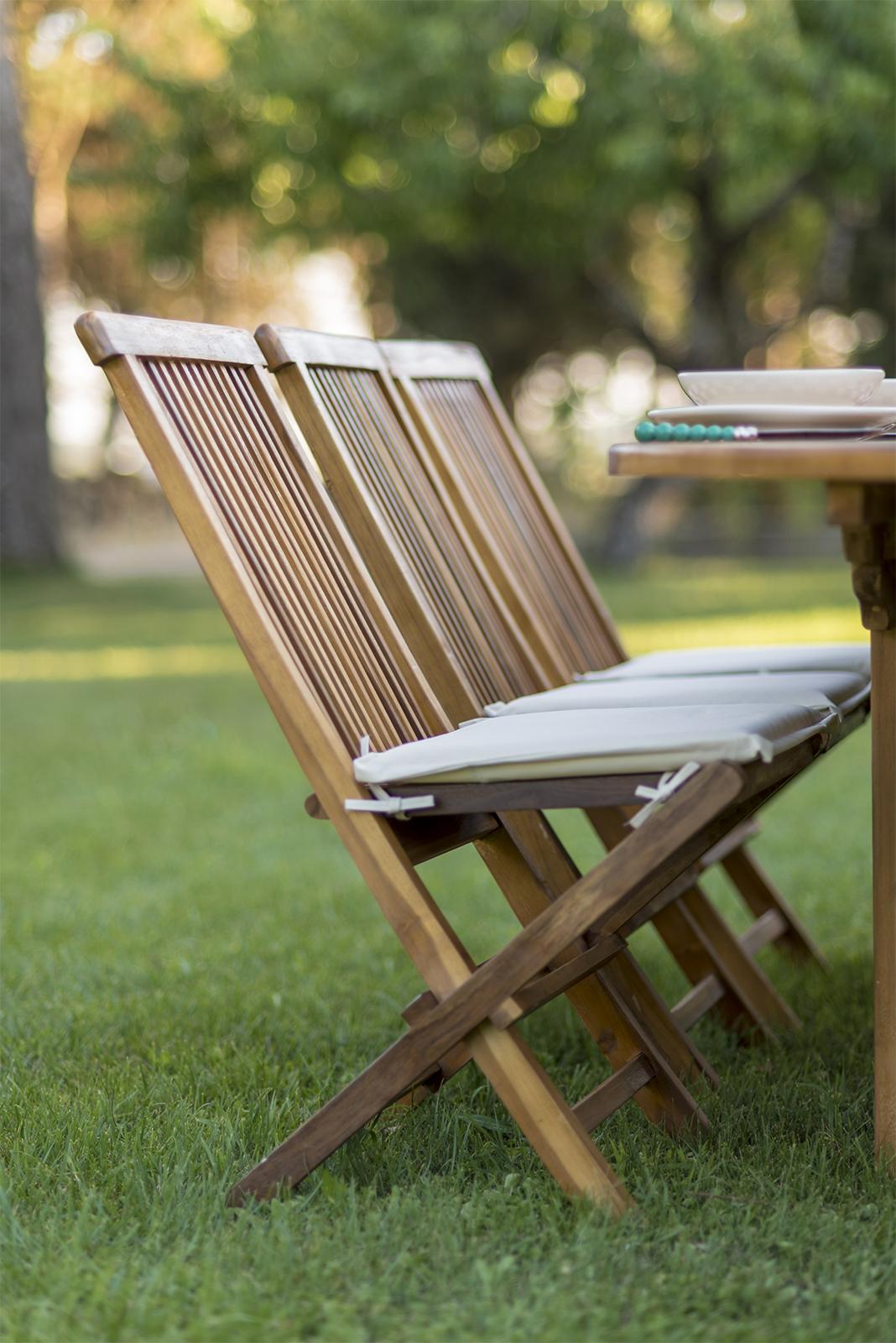 Set pranzo in legno di teak per giardino con tavolo ovale ...