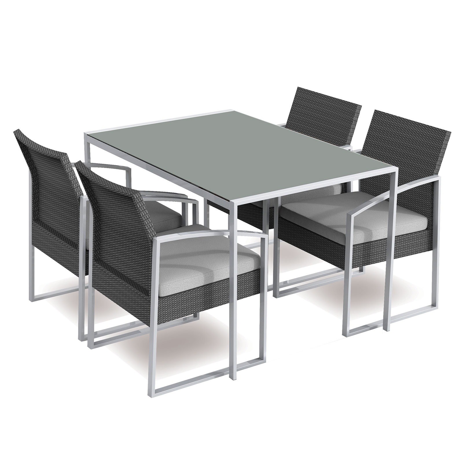 Set pranzo da giardino in ferro tavolo e 4 sedie da estern ...