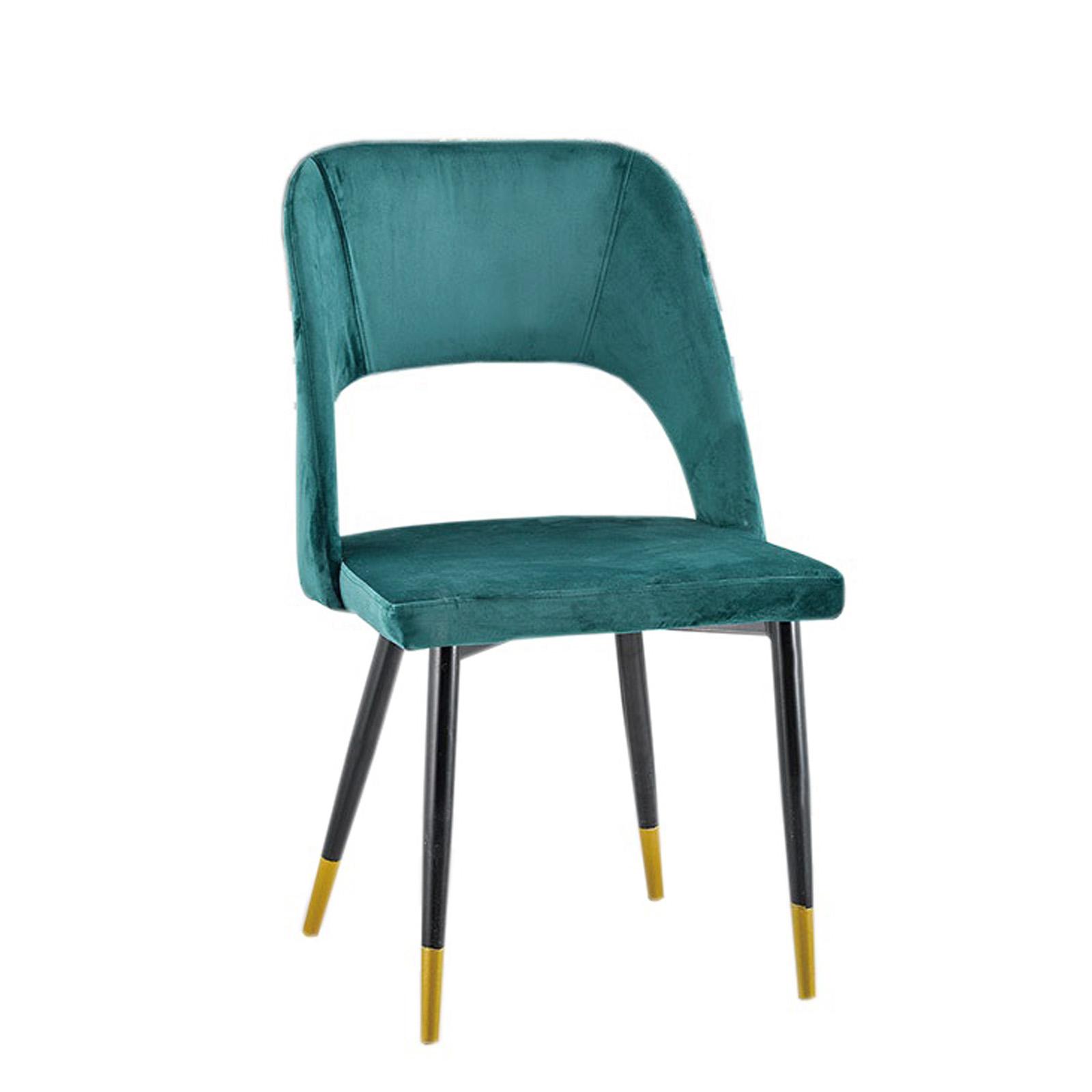 Sedie imbottite velluto gambe in metallo nero e oro 50 x 60 cm