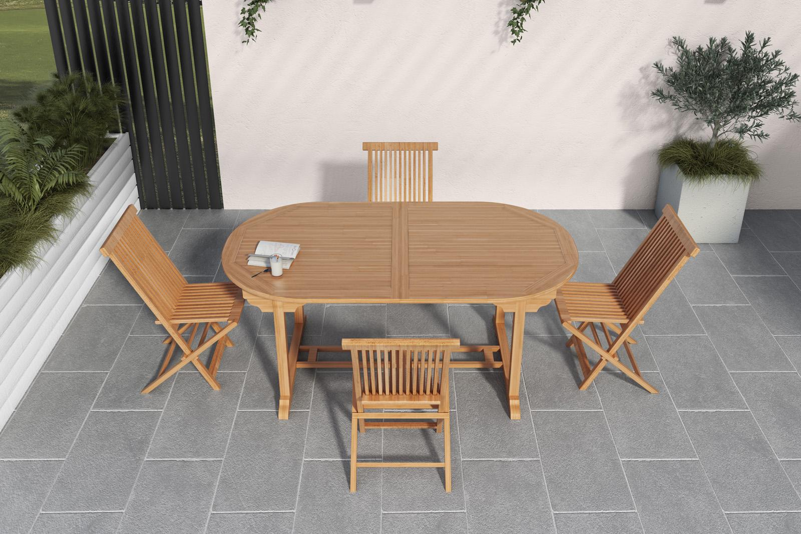 Set pranzo da giardino in legno teak tavolo 150-200cm e 4 ...