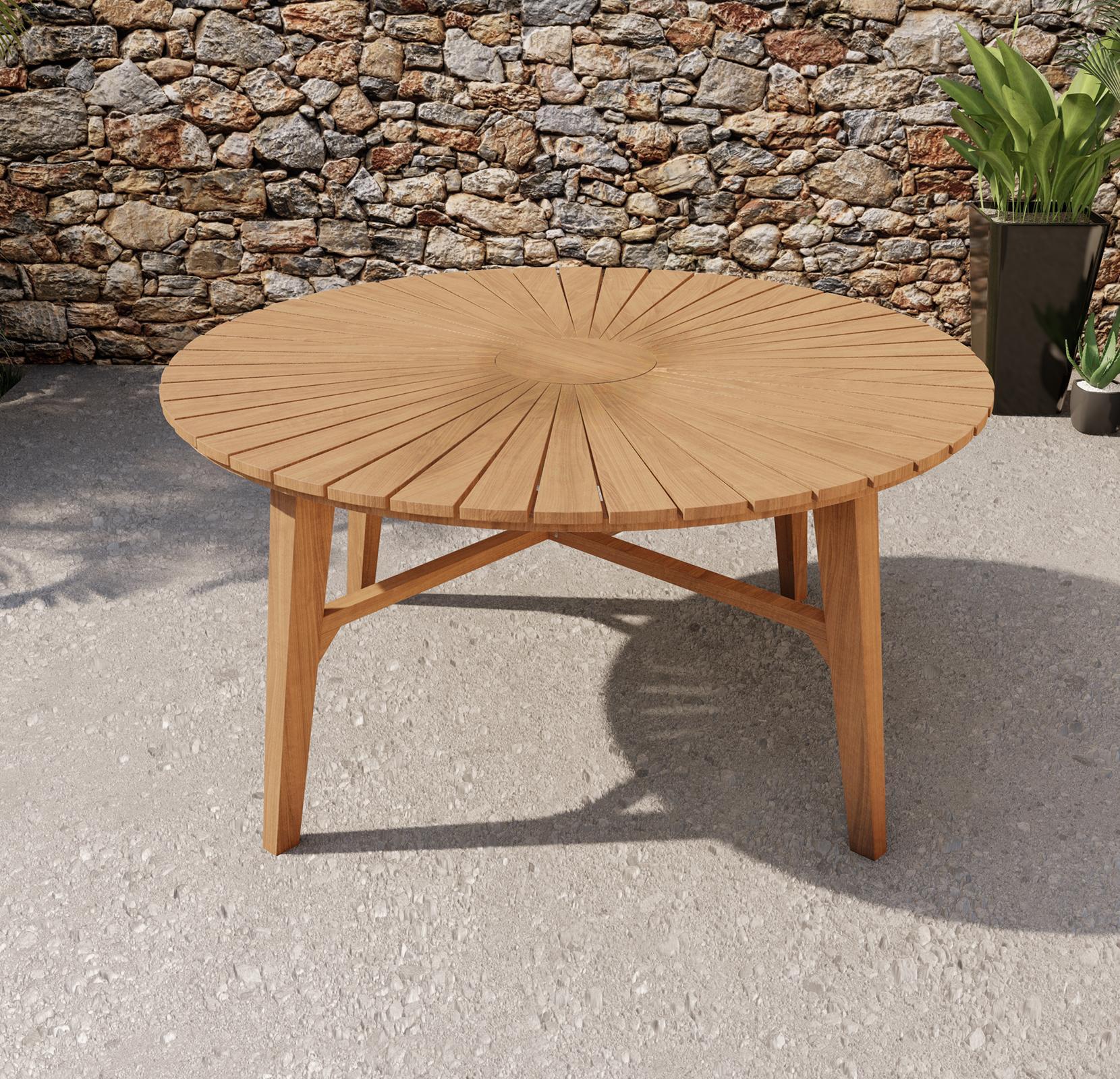 Tavolo da esterno in legno di teak da 150 cm tondo per ...