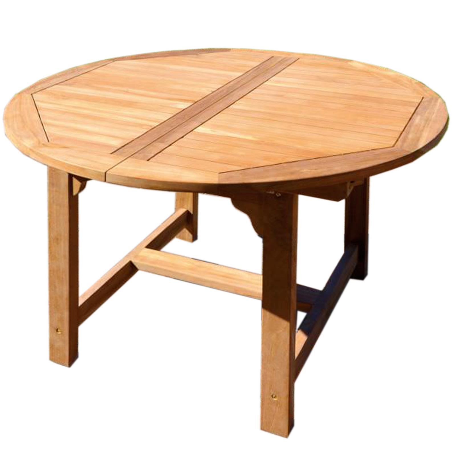 Tavolo rotondo 120 cm in legno teak da pranzo per esterno ...