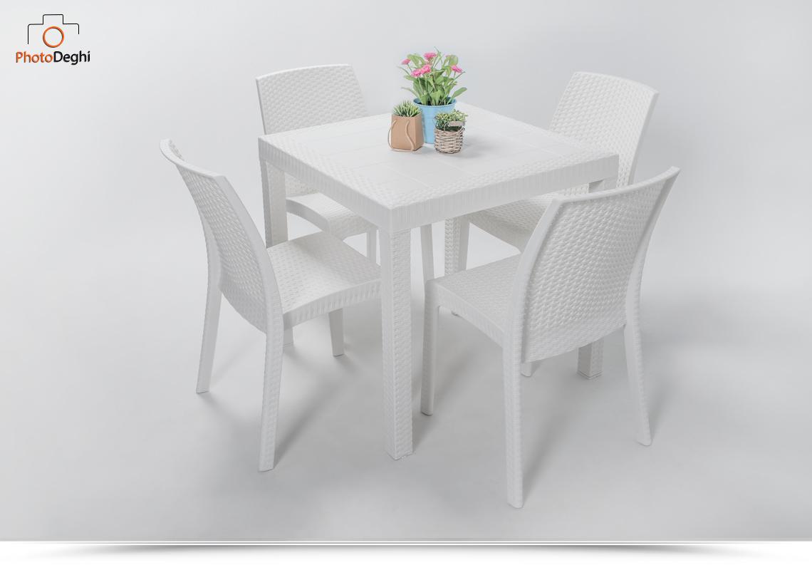 Tavolo da giardino quadrato 80x80 bianco con 4 sedie