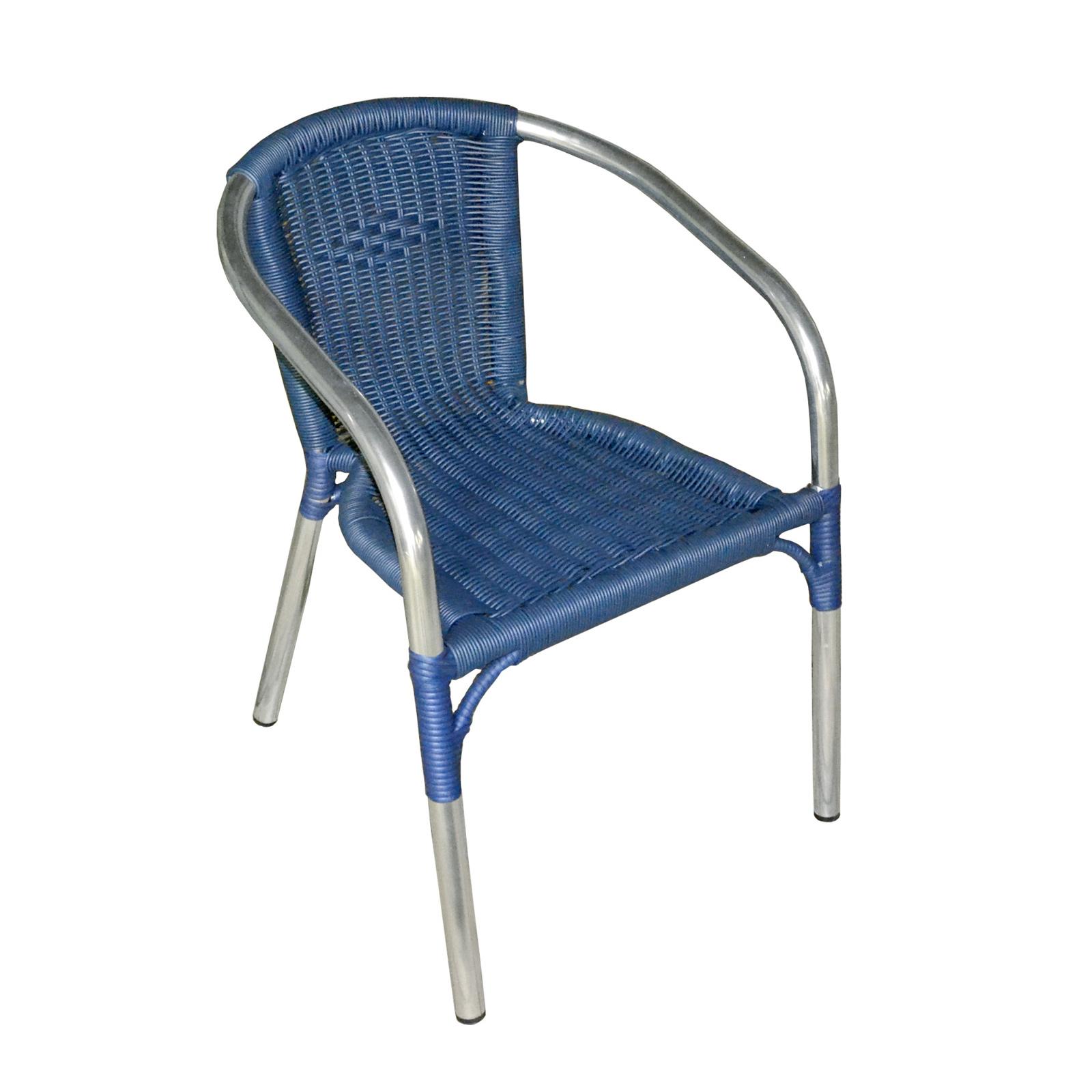 Set Da Bar Per Esterni In Alluminio Tavolo 70x70 Pieghevole 4 Sedie Colore Blu